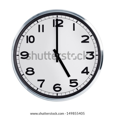 Five hours on the large round wall clock - stock photo