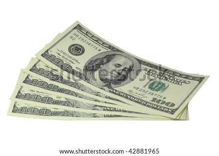 Five hundred dollar bills lying on a white background - stock photo