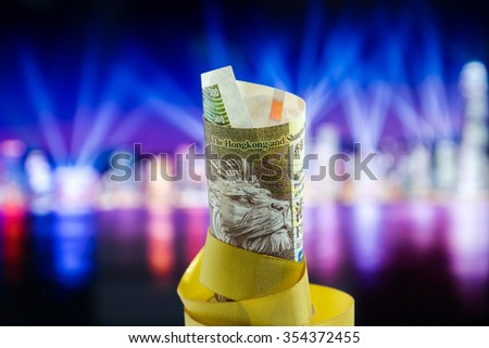 Five Hundred Dollars Hong Kong, Hong Kong Money, Hong Kong Celebrate Light Show / Five Hundred Dollars Hong Kong with the celebration lighting show background
