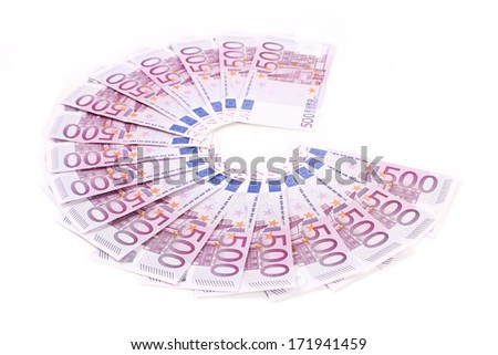 five  hundred Euro bank notes fanned out on a white background - stock photo