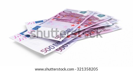 Five hundred euro banknotes (isolated on white and clipping path)