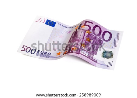 five hundred Euro bill in wave shape isolated with clipping path - stock photo