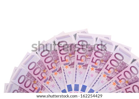 Five hundred euro fan. Isolated on a white background. - stock photo