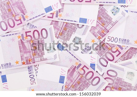 Five hundred euro notes. Whole background texture - stock photo