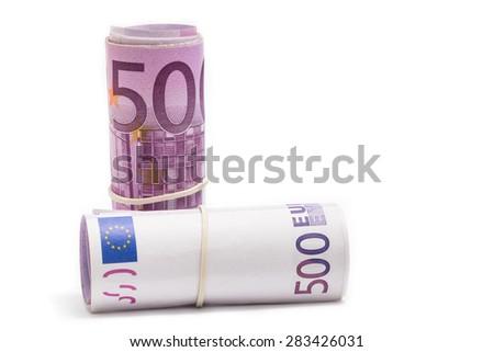 five hundred euro rolls - stock photo