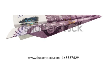 Five Hundred Euros Airplane (with clipping path) - stock photo