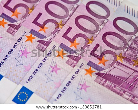 Five hundreds euro banknotes background - stock photo