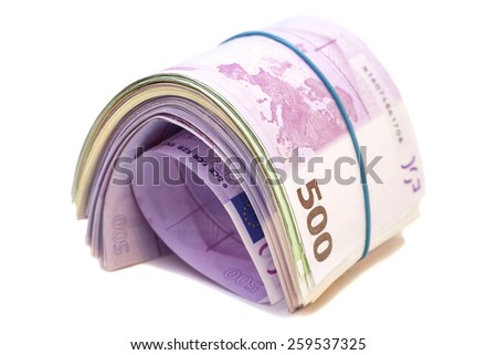 Five hundredth euro banknotes under rubber band  - stock photo
