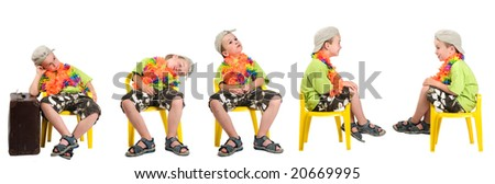 Five identical boys waiting at the gate of an airport. - stock photo