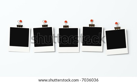 Five instant photo blanks on a wall 3D - stock photo