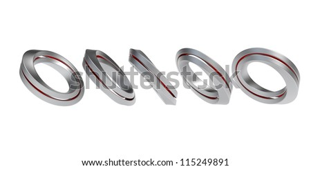 Five iron infinity bands on white