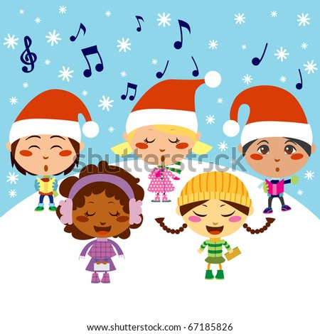 Five kids singing Christmas Carols while snow falls - stock photo