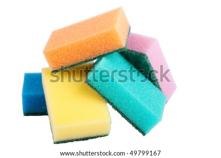 Five kitchen sponges isolated over white background