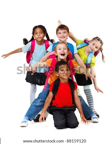 Five laughing children playing, over white - stock photo