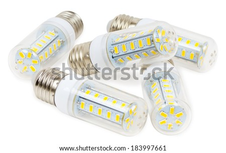 Five LED lamps corn on a white background - stock photo