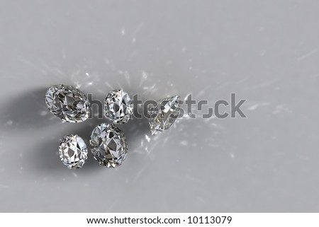 Five loose diamonds with shadows and caustic lights