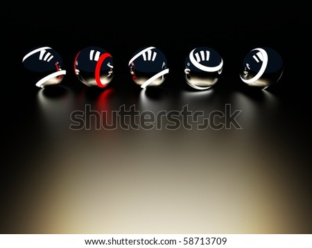 five metal balls with bright stripes - stock photo