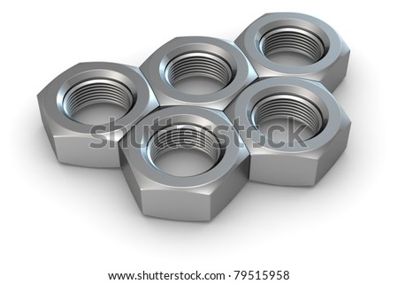 Five metal screw nuts in olympic rings shape - stock photo