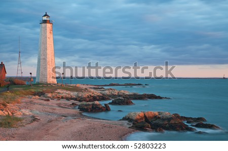 Five Mile Point - New Haven Lighthouse. CT - stock photo