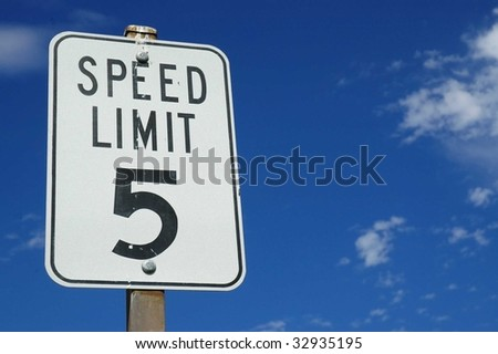 Five miles and hour sign, room for copy space