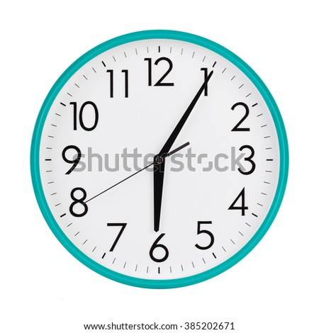 Five minutes past six on the clock face - stock photo