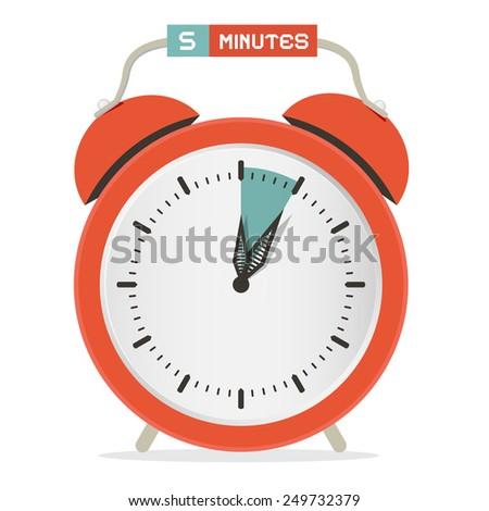 Five Minutes Stop Watch - Alarm Clock Illustration  - stock photo