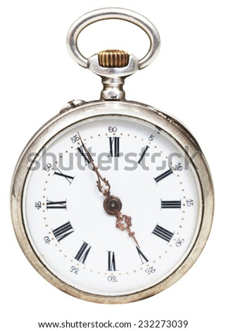 five minutes to five o'clock on the dial of retro pocket watch isolated on white background