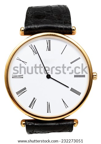 five minutes to four o'clock on dial of wristwatch isolated on white background - stock photo