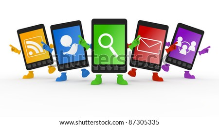 Five Mobile Phone character. - stock photo