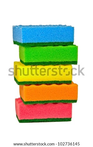 Five multi-colored cleaning sponges for washing dishes, isolated on a white background. - stock photo