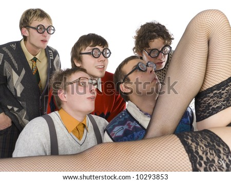 Five nerdy guys looking at stripteaser. They are smiling and looking fascinated. Side view, white background - stock photo