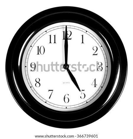 Five o'clock on the black wall clock, isolated on white background - stock photo