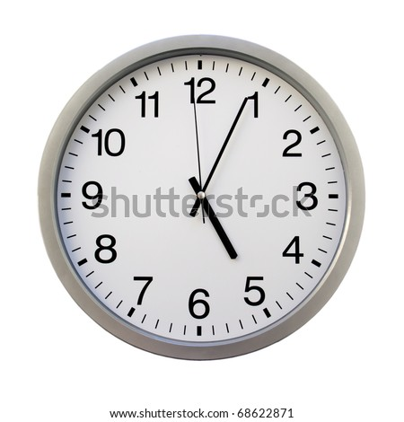 five ou0027clock on the white wall clocks isolated