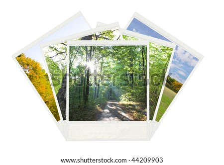Five old  instant photos isolated on white background