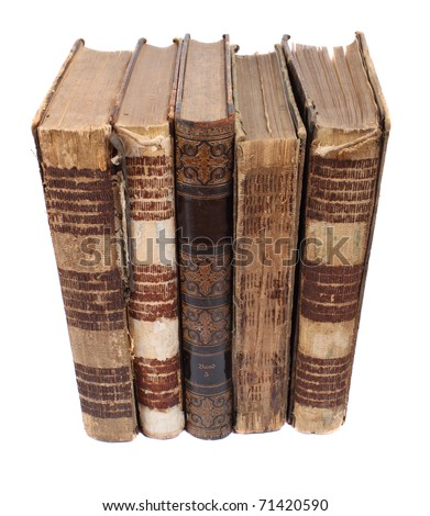 five old religious books of the last century - stock photo