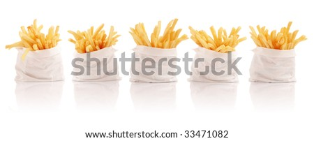 Five packs of french fries - stock photo