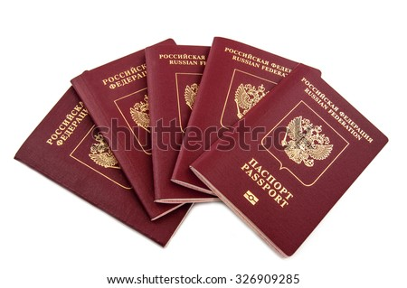 Five passports Russian Federation isolated on white background - stock photo