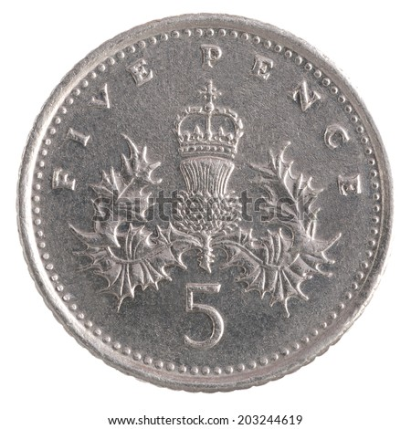 Five Pence coin isolated over a white background - stock photo