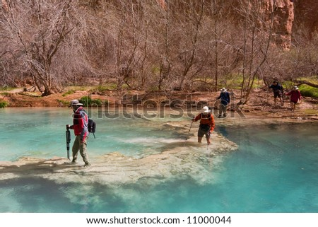Five people with hiking gear crossing a beautiful river on foot. Havasu Canyon, Arizona. Havasupai Reservation. - stock photo
