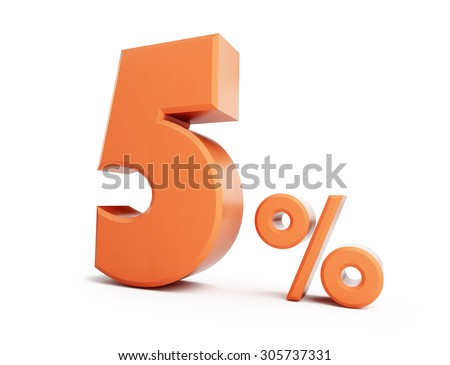 Five percent allowance. On a white background - stock photo
