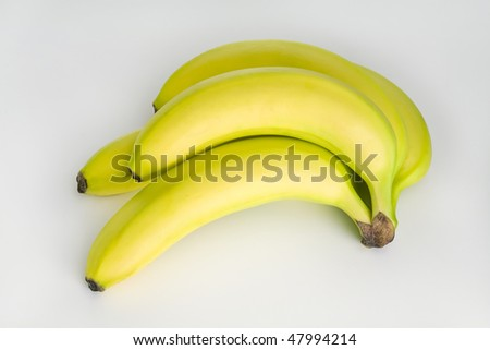 Five Perfect Bananas Isolated on White  Horizontal - stock photo
