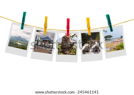 Five photos of Sri Lanka on clothesline isolated on white background with clipping path