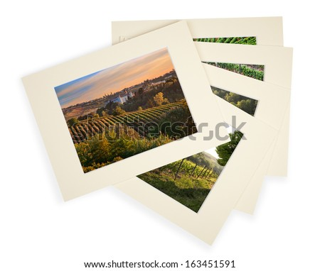 Five photos with cardboard passepartout (matboard) on white with shadow - stock photo