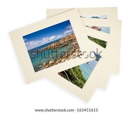 Five photos with cardboard passepartout on white with shadow - stock photo