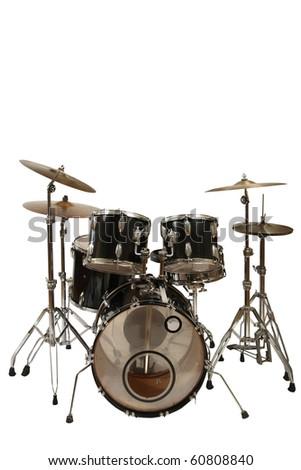 five piece drum kit (white background) - stock photo