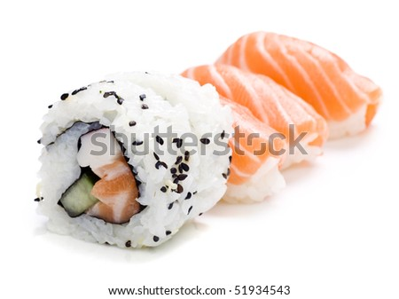 five pieces of sushi on white background - stock photo