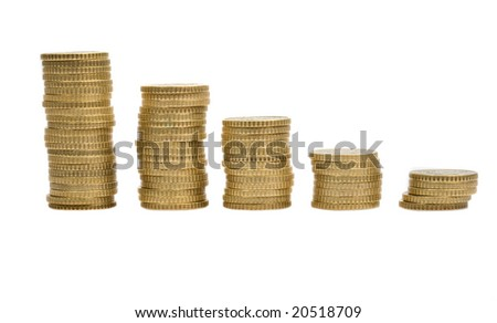 Five piles of money isolated on white