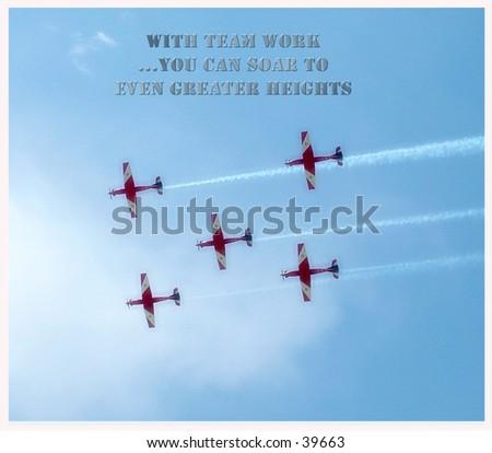 five planes soaring overhead - stock photo