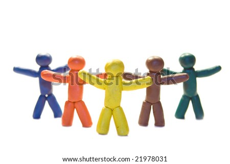 Five plasticine people standing on white background - stock photo