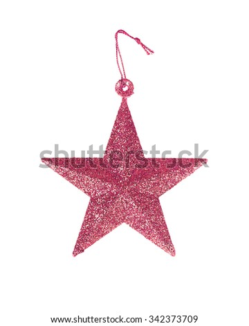 five pointed star christmas decoration isolated on white background. - stock photo